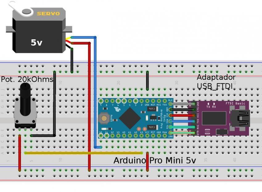 Conexion de un Servo en Artuino Pro Mini alimentado con un adaptador USB FTDI
