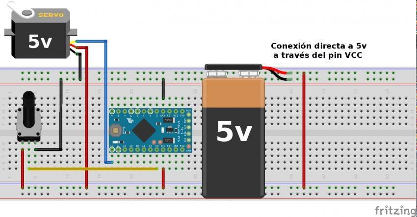 Conexion de un Servo en Arduino alimentado a traves del pin VCC