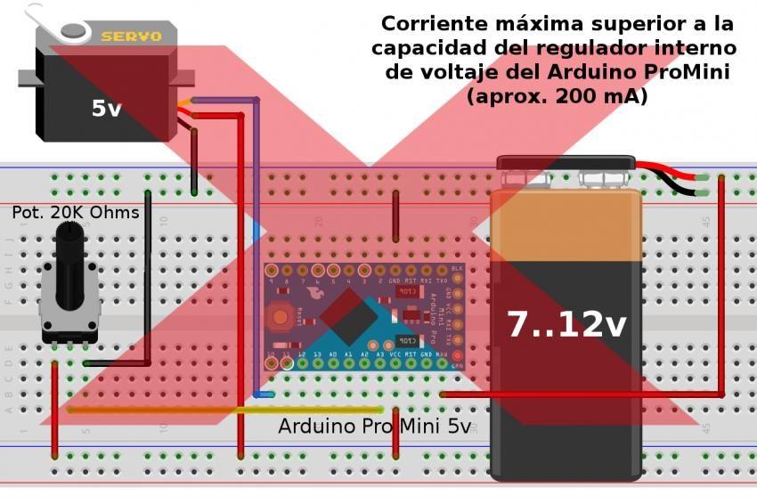 Conexion incorrecta de un Servo motor de 5V en Arduino