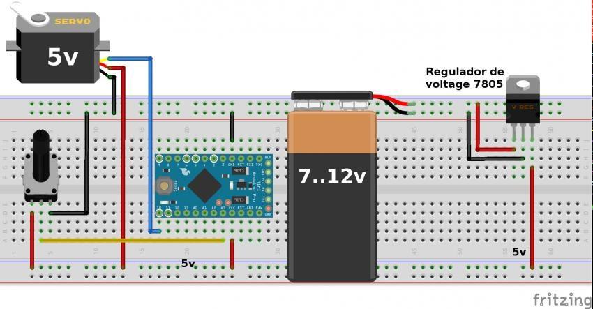 Conexion Servo a 5V Alimentacion 9V regulador de voltaje 7805 con Arduino